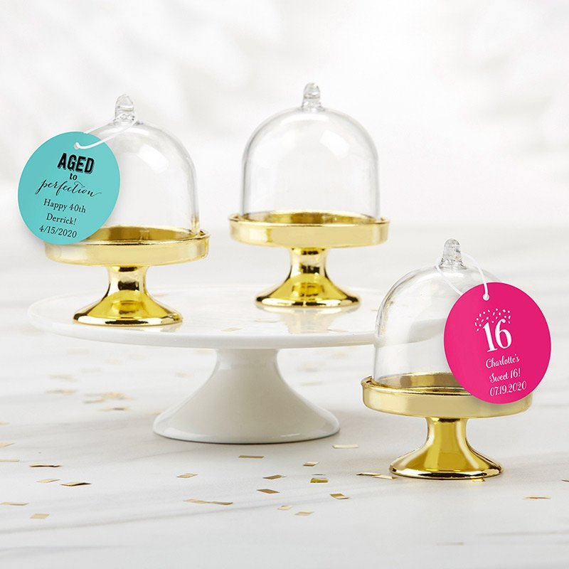 Personalized Birthday Small Gold Base Bell Jar (Set of 12) image