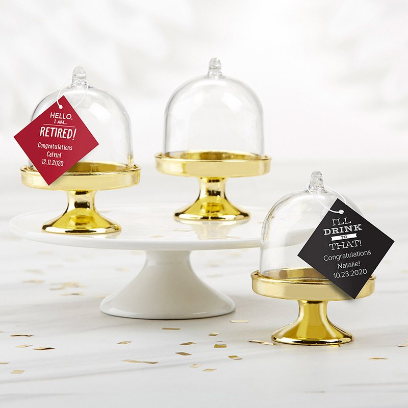 Personalized Celebration Small Gold Base Bell Jar Set of 12 image