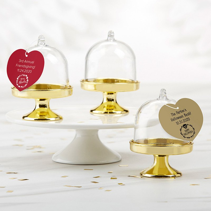Personalized Holiday Small Gold Base Bell Jar (Set of 12) image