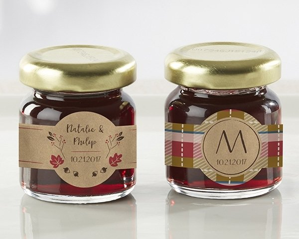 Personalized Fall Design Strawberry Jam Favors Set Of 12