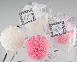 Rose Ball Candle in Gift Box with Personalized Gift Tag image