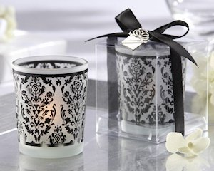 Black and White Damask Tealight Candle Holders (Set of 4) image