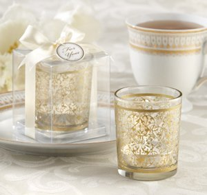 Golden Baroque Glass Votive Candles (Set of 4) image