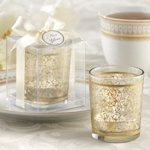 Golden Baroque Glass Votive Candles (Set of 4)