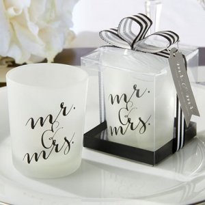 Classic Mr. and Mrs. Votive Candle Favor (Set of 4) image