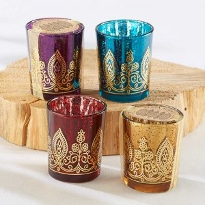 Indian Jewel Tone Henna Candle Holders (Set of 4) image