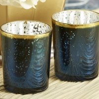 Blue Mercury Glass Tealight Holder (Set of 4)