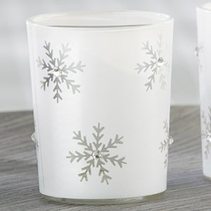 Sparkling Snowflake Glass Tea Light Holders (Set of 4) image