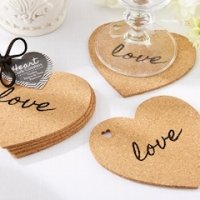 Heart Shaped 'Love' Cork Coasters