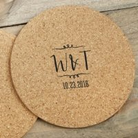 Personalized Vineyard Design Round Cork Coaster Favors (Set