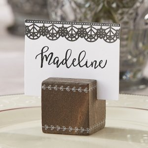 Romantic Garden Wood Cube Place Card Holder (Set of 6) image