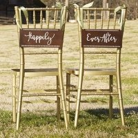 Happily Ever After Wood Chair Signs