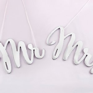 Silver Mirror Mr & Mrs Chair Signs image