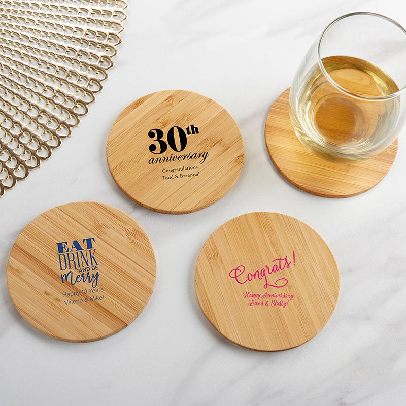 Personalized Anniversary Wood Round Coaster (Set of 12) image
