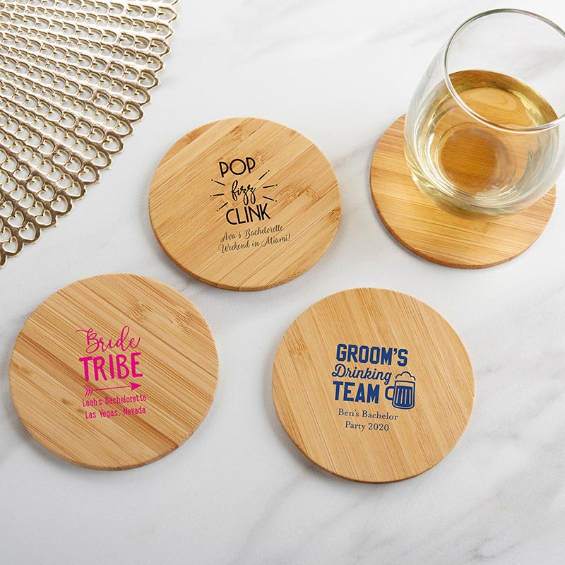 Personalized Bachelorette Wood Round Coaster (Set of 12) image