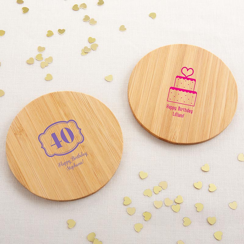 Personalized Birthday Wood Round Coaster (Set of 12) image