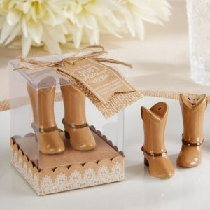 Just Hitched Ceramic Cowboy Boot Salt and Pepper Shakers image