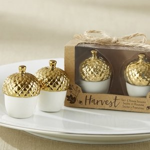 Gold Dipped Ceramic Acorn Salt and Pepper Shakers image