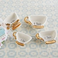 Tea Time Whimsy Ceramic Teacup Measuring Spoons