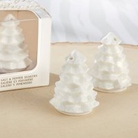 White Ceramic Pine Tree Salt & Pepper Shakers