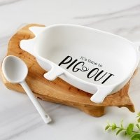 Ceramic Pig Out Dip Bowl and Spoon