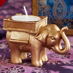 Lucky Elephant Golden Tealight Holder Indian Wedding Favors image