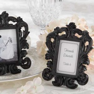 Elegant Black Baroque Place Card Frame image