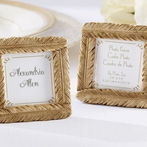 Gold Feather Square Photo Frame image