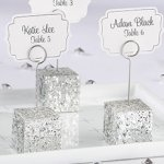 Silver Glitter Place Card Holders (Set of 6)