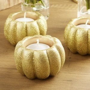 Gold Glitter Pumpkin Votive Holder - Set of 2 image