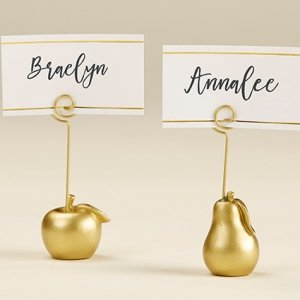 Gold Apple and Pear Place Card Holder (Set of 6) image