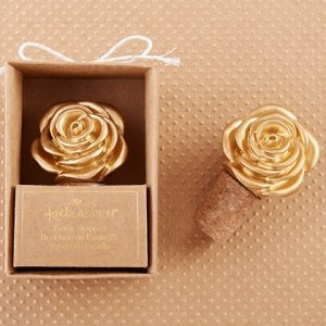 Metallic Gold Rose Bottle Stopper Favors image