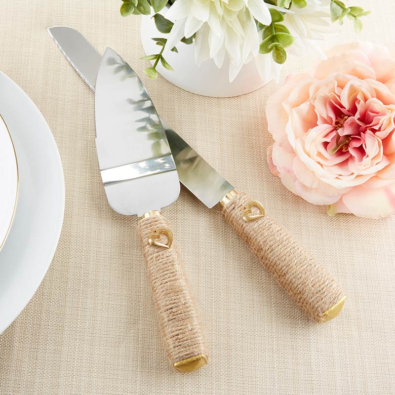 Gold Heart Wedding Knife & Cake Server Set image
