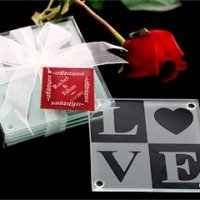 LOVE Glass Coasters with Personalized Tag (Set of 4)