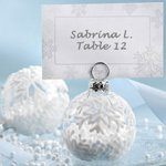 Flocked Glass Snowflake Ornament Placecard Holder (Set of 6)