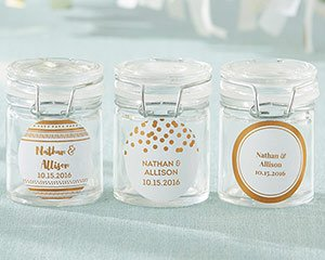 Personalized Copper Foil Glass Favor Jars (Set of 12) image