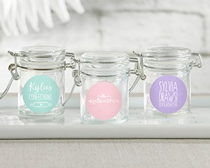 Personalized Glass Favor Jars - Custom Design (Set of 12) image