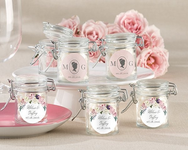 Personalized english garden glass favor jars set of