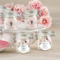 Personalized English Garden Glass Favor Jars (Set of 12)
