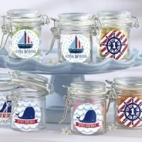 Personalized Nautical Birthday Glass Favor Jars (Set of 12)