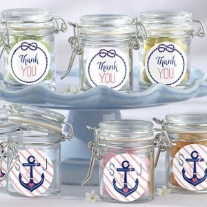Personalized Nautical Glass Bridal Favor Jars (Set of 12) image