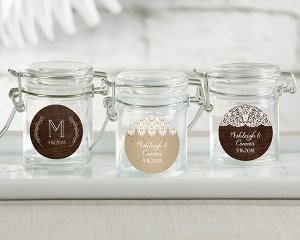 Personalized Rustic Charm Glass Favor Jars (Set of 12) image