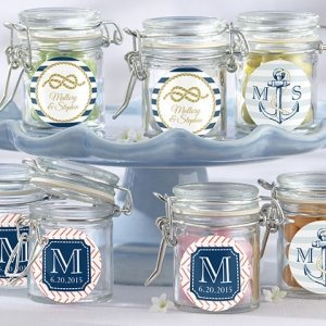 Nautical Theme Personalized Glass Favor Jars (Set of 12) image