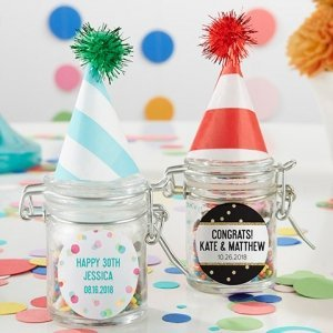 Personalized Party Time Glass Favor Jars (Set of 12) image