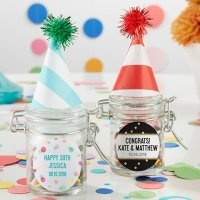 Personalized Party Time Glass Favor Jars (Set of 12)