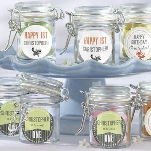 Personalized Woodland Birthday Glass Favor Jars (Set of 12) image