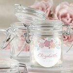 Personalized Rustic Glass Bridal Shower Favor Jars