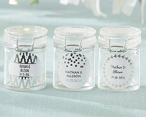 Personalized Silver Foil Glass Favor Jars (Set of 12) image