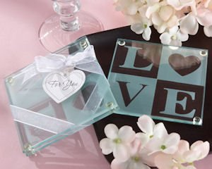 LOVE Two Tone Coasters in Clear Gift Box (Set of 2) image