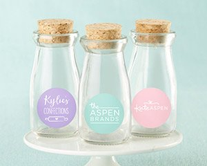Personalized Vintage Milk Bottle Favor Jar - Custom Design ( image